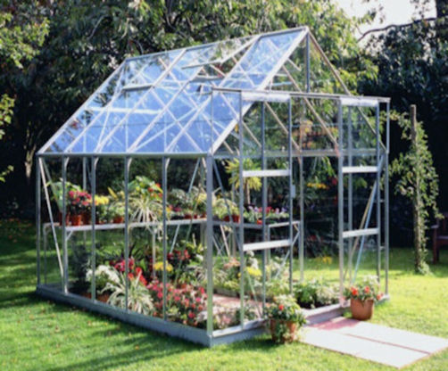 Halls Magnum Greenhouse with Glass and Mill Frame