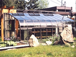 Glass Acadian Lean To Greenhouse